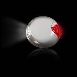 Plástico; As luzes da frente e de trás podem ser operados separadamente; Fixação fácil devido ao sistema de fita de velcro; Luz