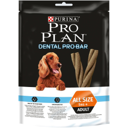 PRO PLAN Dental PRO BAR é especialmente formulado para reduzir de forma eficaz a formação de placa e tártaro e ajudar a manter o
