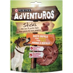 Deliciosos Mini Sticks para cães com um espírito natural de aventura! Alimento complementar para cães adultos. Aroma a Búfalo.