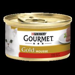 """""""Suave Mousse com Carne de Vaca, cuidadosamente preparadas para oferecer ao seu gato o prazer de uma delicada e suave sensação."""