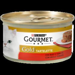 GOURMET Gold Tartelette com Carne de Vaca com Tomate contém pedacinhos delicadamente cortados e ingredientes requintados,cuidad