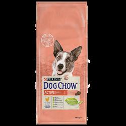 DOG CHOW Adult Active contém altos níveis de proteína e gordura de que os cães ativos necessitam e é formulado para ajudar a man