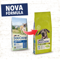DOG CHOW Large Breed Adult é um alimento completo para cães adultos que suporta um equilíbrio correto de nutrientes para que se